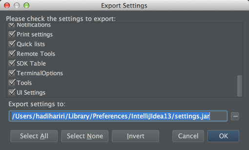 Settings Import Export
