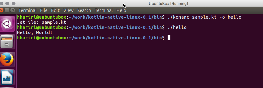 Output on Linux
