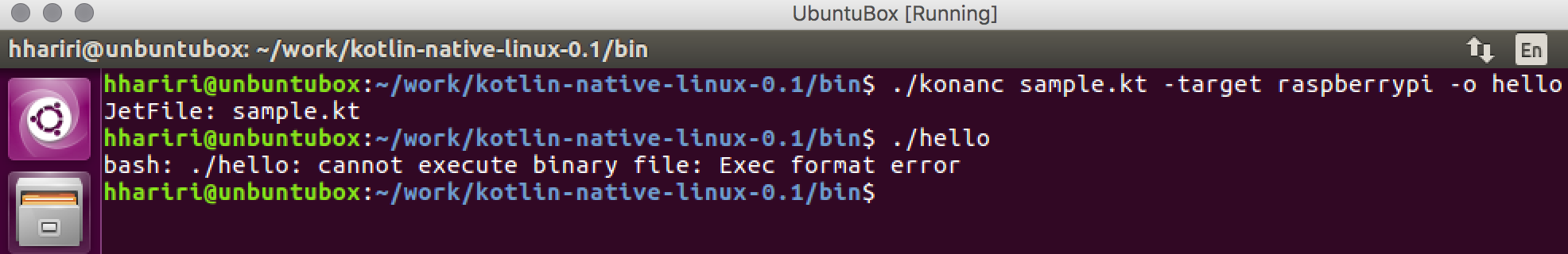 Output on Linux Cross-Compile